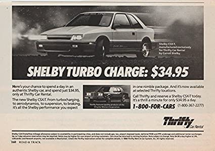 *PRINT AD* 1988 THRIFTY CAR RENTAL with SHELBY CSX-T TURBO ""