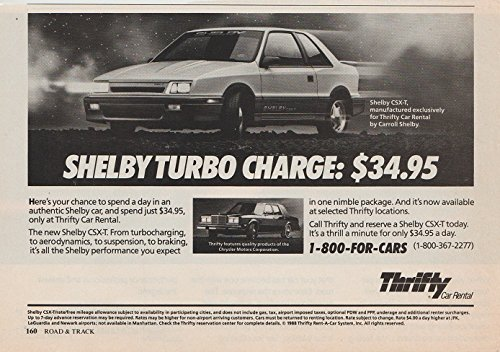 Print Ad  1988 Thrifty Car Rental With Shelby Csx T Turbo   Shelby Turbo Charge   Vintage Non Color Ad   Usa   Great Original