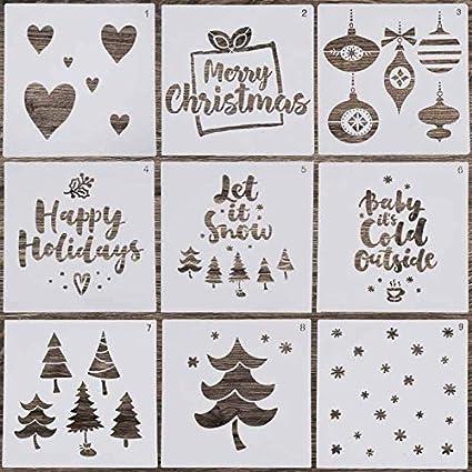 Christmas Stencils For Wood.Amazon Com Locolo Reusable Christmas Painting Stencils