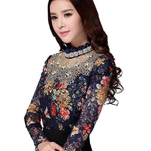 Women Winter Hollow Out Floral Print Lace Long Sleeve Elegant Blouse Plus Size Blue