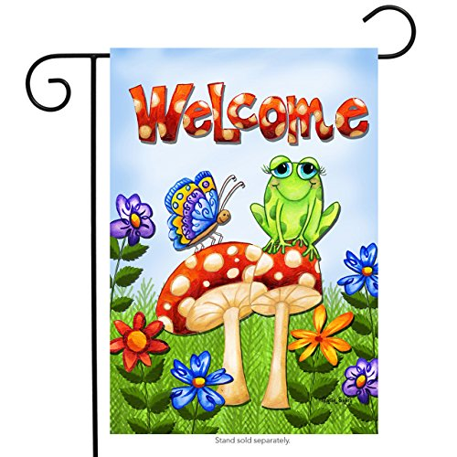 Briarwood Lane Mushroom Frog Spring Garden Flag Welcome Butterfly Toadstool Flowers 12.5