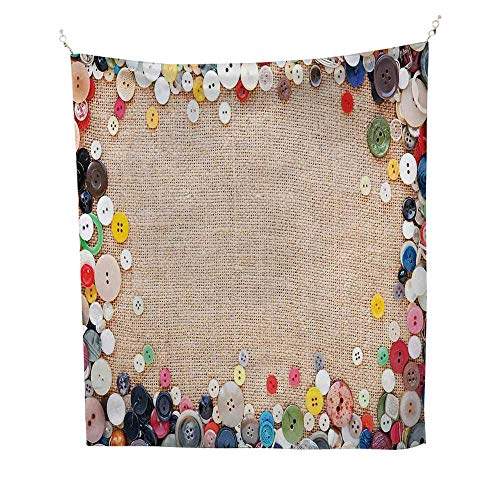 Vintageoutdoor tapestryButtons Collection Fabric Texture Canvas Frame Sewing Needlecraft Contemporary Picture 70W x 84L inch Ceiling tapestryLight ()