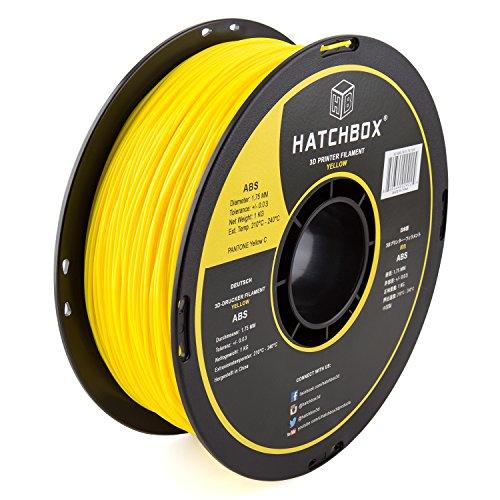 HATCHBOX 3D ABS-1KG1.75-YLW ABS 3D Printer Filament, Dimensional Accuracy +/- 0.05 mm, 1 kg Spool, 1.75 mm, Yellow HATCHBOX Supplies