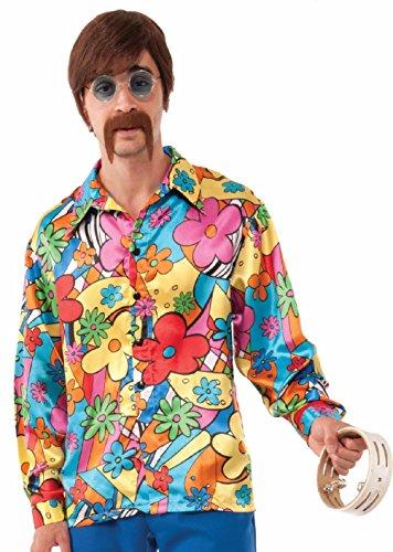 Glitter Gold Go Go Costumes (Hippie Groovy Go-Go Shirt Chemise Costume Halloween Adult 60s 70s Shirt Standard)