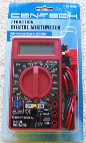 Cen-Tech Digital Amp Ohm Volt Meter Ac Dc Voltmeter Multimeter,Red 7 Function Digital Multimeter