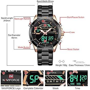 Reloj Digital de Acero Inoxidable para Hombre, Resistente al Agua, Cuarzo, LED, Deportes, Militar, Relojes de Pulsera para Hombres + Caja de Gorben