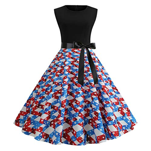 Women American Flag Print Sleeveless Vintage Evening Party Prom Swing Dress Blue