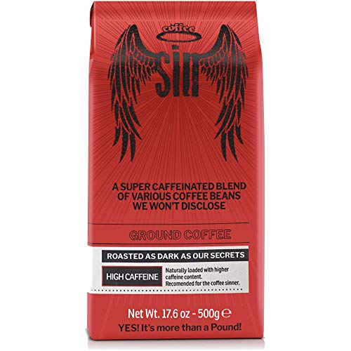Coffee SIN | The Strongest Coffee & Highest Caffeine Content Without Sacrificing Taste | With Health Benefits | Great for Hot or Cold Brew | GROUND COFFEE | Made in Italy | 17.6 Ounces