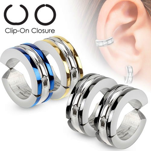 U2U Pair of 316L Surgical Stainless Steel Edge Strip Color IP Non-Piercing Clip On Round Earrings