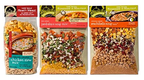 Frontier Soups 100% Natural Homemade In Minutes Gluten-Free Soup Mix 3 Flavor Variety Bundle: (1) Colorado Campfire Chicken Stew, (1) New Orleans Jambalaya, and (1) AZ Sunset Enchilada, 4.5-7 Oz Ea (New Frontier Campfire)