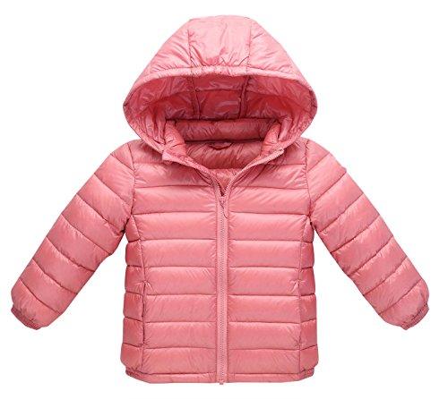 Ruicheng kids Down Coat Girls Winter Warm Lightweight Packable Jacket Girls Thicken Quilted Zipper Outwear for 5-6 Years Old Pink