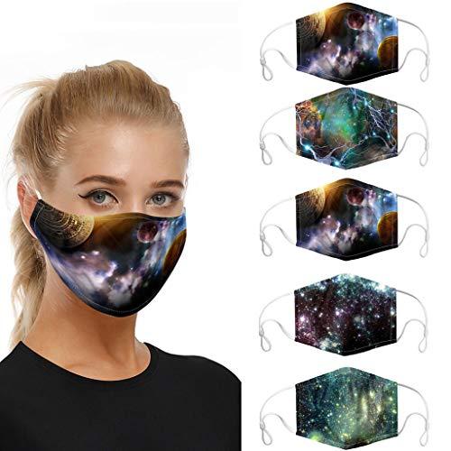🥇 5Pcs Unisex Washable Reusable Cotton Dust Face Mouth Bandana