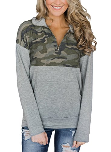 (AlvaQ Women's Juniors Plus Size Long Sleeve Floral Print Patchwork 1/4 Zip Pullover Outwear Sweatshirt Casual Winter Tunic Tops with Pockets Army)