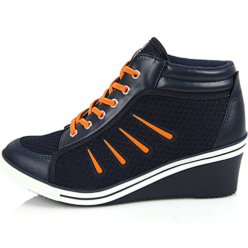 Brand New Lace Up Casual Shoes For Women Heels Fashion Wedge Sneakers - Comfortable Sports height Increase High-Top Ankle Boots Navy xcGfV2ZZw