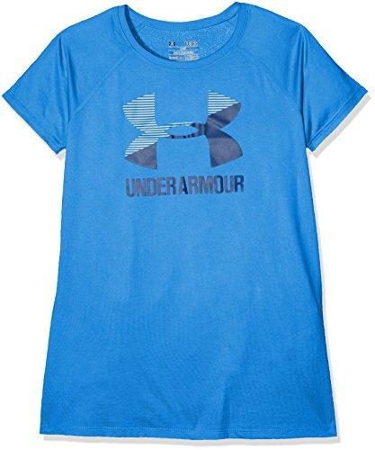 Black Logo Blackout T-shirt - Under Armour Girls Solid Big Logo Short Sleeve T-Shirt,Mediterranean /Blackout Navy, Youth Large