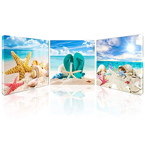 Beach Canvas Wall Art Starfish Seashell Pictures for Bathroom Modern Seascape Stretched and Framed Giclee Canvas Prints Seaview Landscape Artwork for Bedroom Home Office Decorations]()