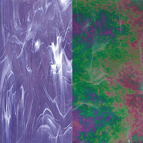 Spectrum Grape & White Wispy Iridized Glass 12 x 12 Sheet I84392 (Stained Iridized Glass White)
