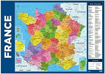 carte de france département et ville Carte De La France : Sous Main Rigide/Avec Régions, Départements