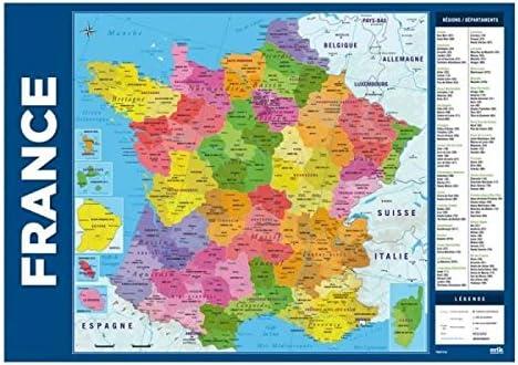 Regioni Francia Cartina.Scheda Della Francia Sotto Mano Con Regioni Dipartimenti E Citta Stampati Dimensione 35 X 50 Cm Amazon It Cancelleria E Prodotti Per Ufficio