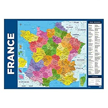 Carte De La France Sous Mainavec Régions Départements Et Villes Imprimés Dimension 35 X 50 Cm Impréssion 2017