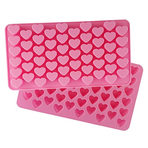 Heart Mini Snack Tray - Always Your Chef 2 Pack 55-Cavity Silicone Candy Molds/Chocolates Molds/Ice Cube Trays, MINI Heart Shaped, Random Color