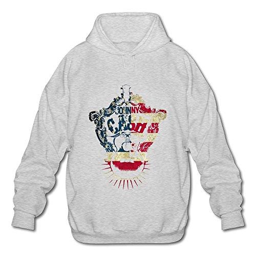 Price comparison product image Qi'c Men's Gray Johnny Cash J. R. Cash Logo Sweatshirt Hoodies Ash Size XL