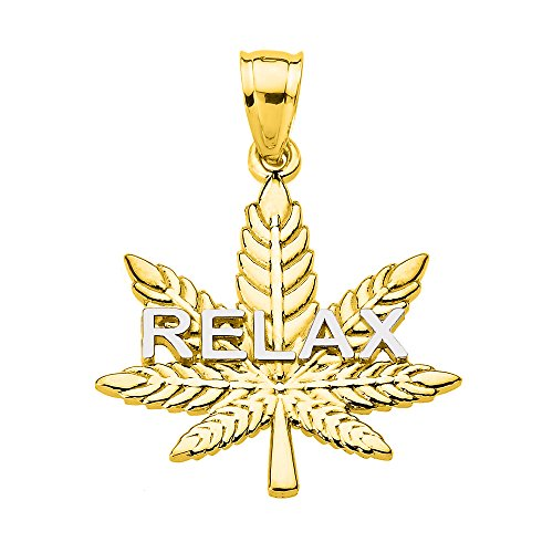 Solid 10k Yellow Gold Marijuana Cannabis Leaf