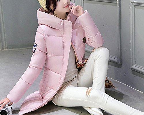 Abrigo Largo Mujer Delgado Pink Chaqueta Caliente 1 Acolchado Encapuchado Abajo Invierno Parka rrT6UwqR