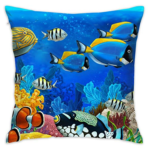 TRK-KWQDF Nautical Reef Fishs Colorful Throw Pillows Covers for Couch/Bed 18 X 18 Inch, Print for Textile Wallpaper Pattern Home Sofa Cushion Cover Pillowcase Gift Bed Car Living - Throw Pillow Reef