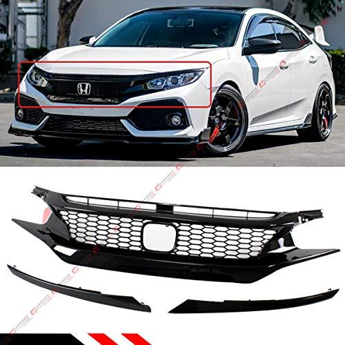 - Fits for 2016-2019 Honda Civic CIVIC 10th Gen CTR Style Glossy Black Front Hood Mesh Grill Grille
