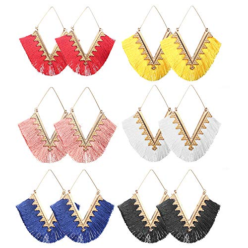 (hefanny 6-10 Pairs Colorful Layered Statement Tassel Earrings Set Black White Red Yellow Long Boho Drop Dangle Earrings for Women Girls Hypoallergenic Earrings for Sensitive Ears (style 5: 6 pairs))