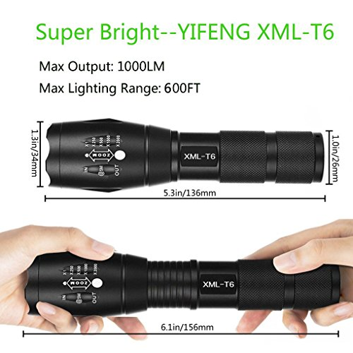 Tactical-Flashlight-YIFENG-Ultra-Bright-CREE-XML-T6-LED-Tactical-Torch-with-Adjustable-Focus-and-5-Light-Modes-for-Camping-Hiking-Emergency