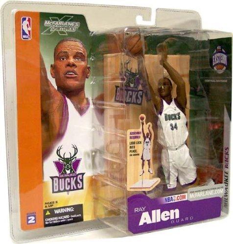 McFarlane Toys NBA Sports Picks Series 2 Action Figure Ray Allen (Milwaukee Bucks) White Jersey