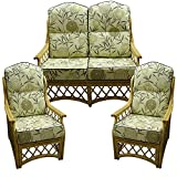 Hump Top New Suite Cushion COVERS ONLY Cane Conservatory Wicker Furniture by Gilda (Bamboo Natural with Grey piping)