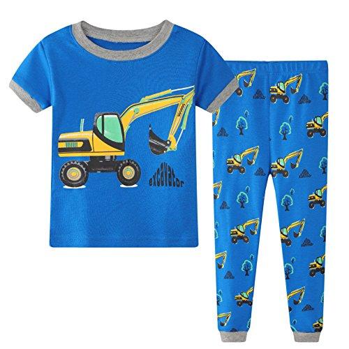 Baby Pajamas 2 Piece Set Short Sleeve PJS with Cartoon Yellow Digger -