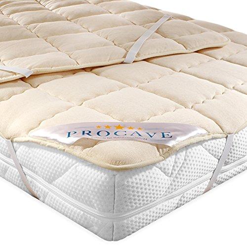 PROCAVE Protector de colchón acolchado de lana virgen,Funda transpirable para cama, Cubrecolchón con 4 gomas angulares 90x200 cm: Amazon.es: Hogar