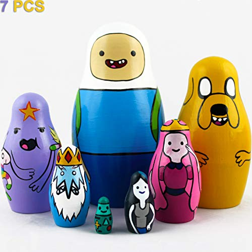 MATRYOSHKA&HANDICRAFT Matryoshkas Russian Nesting Dolls Cartoon Adventure Time Set 7 pcs Characters Finn and Jake