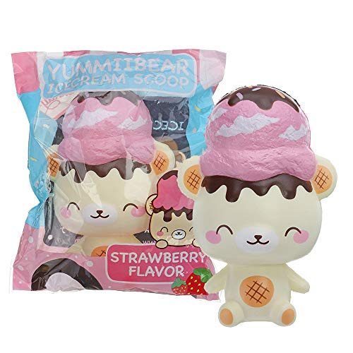 ThyWay Yummiibear Squishy Ice Cream Scoop Strawberry Bear 14CM Licensed Slow Rising with Packaging