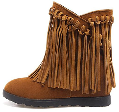 Frosted Wedge Mid On Boots Heels Retro Inside Pull Ankle Fringes Yellow Hidden IDIFU Women's BqwHIIn8