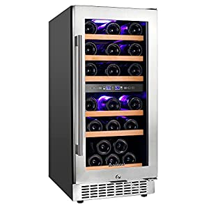 Aobosi Wine Cooler Refrigerator 30 Bottle Dual Zone Freestanding and Built-in Wine Refrigerator with Classy Look, Stainless Steel&Double-Layer Tempered Glass Door and Temperature Memory Function