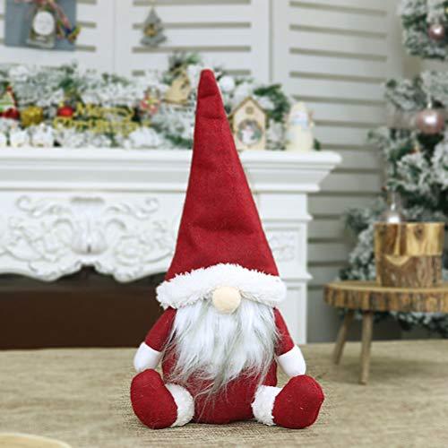 NOENNULL Decoración navideña sin Rostro, figurillas Decorativas navideñas Figuras Sentado Papá Noel Tema parado Ángel navideño decoración estatuilla Sombrero de Invierno Bufanda