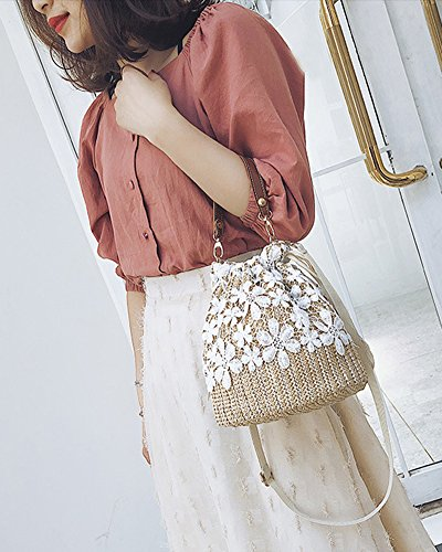 Crossbody Hand Outdoor Knitting Bag Bag Lace Bag Bag Khaki Shoulder Brown Beach Women Straw q6WU0ctn1v