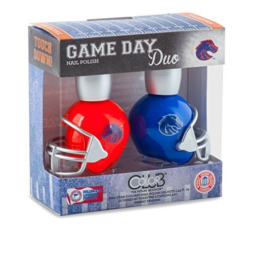 BOISE STATE BRONCOS GAME DAY DUO NAIL POLISH SET-BOISE STATE UNIVERSITY NAIL POLISH-INCLUDES 2 BOTTLES AS SHOWN by COLOR CLUB