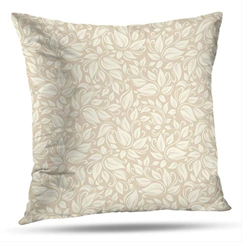 Ivory Leaf Scroll Wallpaper - Beige-Pattern Decorative Throw Pillow Covers,Seamless Beige Floral Pattern Pattern with Leaves Cream Pattern Double-Sided 18 x 18 Inch Pillowcase Cushion for Sofa Home