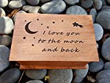 jewelry box, music box, I love you to the moon and back gift, custom made music box, handmade jewelry box, anniversary gift, simplycoolgifts