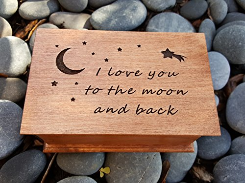 jewelry box, music box, I love you to the moon and back gift, custom made music box, handmade jewelry box, anniversary gift, simplycoolgifts by Simplycoolgifts