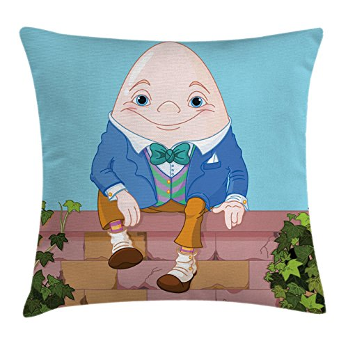 Humpty Dumpty Egg (Alice in Wonderland Throw Pillow Cushion Cover by Ambesonne, Egg Humpty Dumpty Sitting on Brickwork Wall in Colorful Cartoon Style, Decorative Square Accent Pillow Case, 16 X 16 Inches, Multicolor)