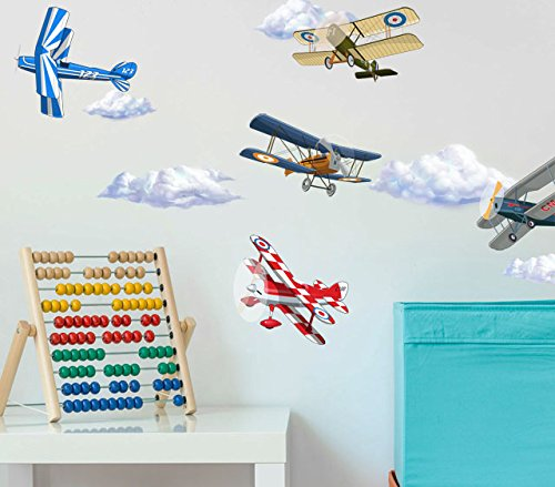 Vintage Peel Planes - Create-A-Mural Vintage Planes Wall Decals w/Clouds Peel & Stick Decor ~ (10) 5