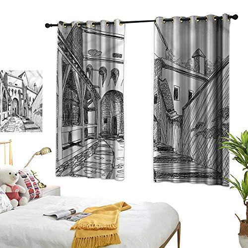 Warm Family Medieval Decor Curtains Citadel in Middle Ages Suitable for Bedroom Living Room Study, etc.55 Wx39 L