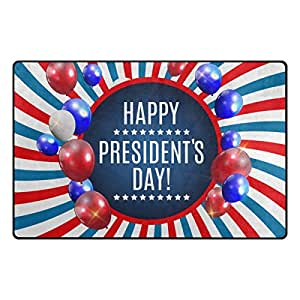 U LIFE Vintage Presidents Day American USA Stars Stripes Celebration Large Doormats Area Rug Runner Floor Mat Cover Carpet for Entrance Way Living Room Bedroom Kitchen Office 31 x 20 Inch